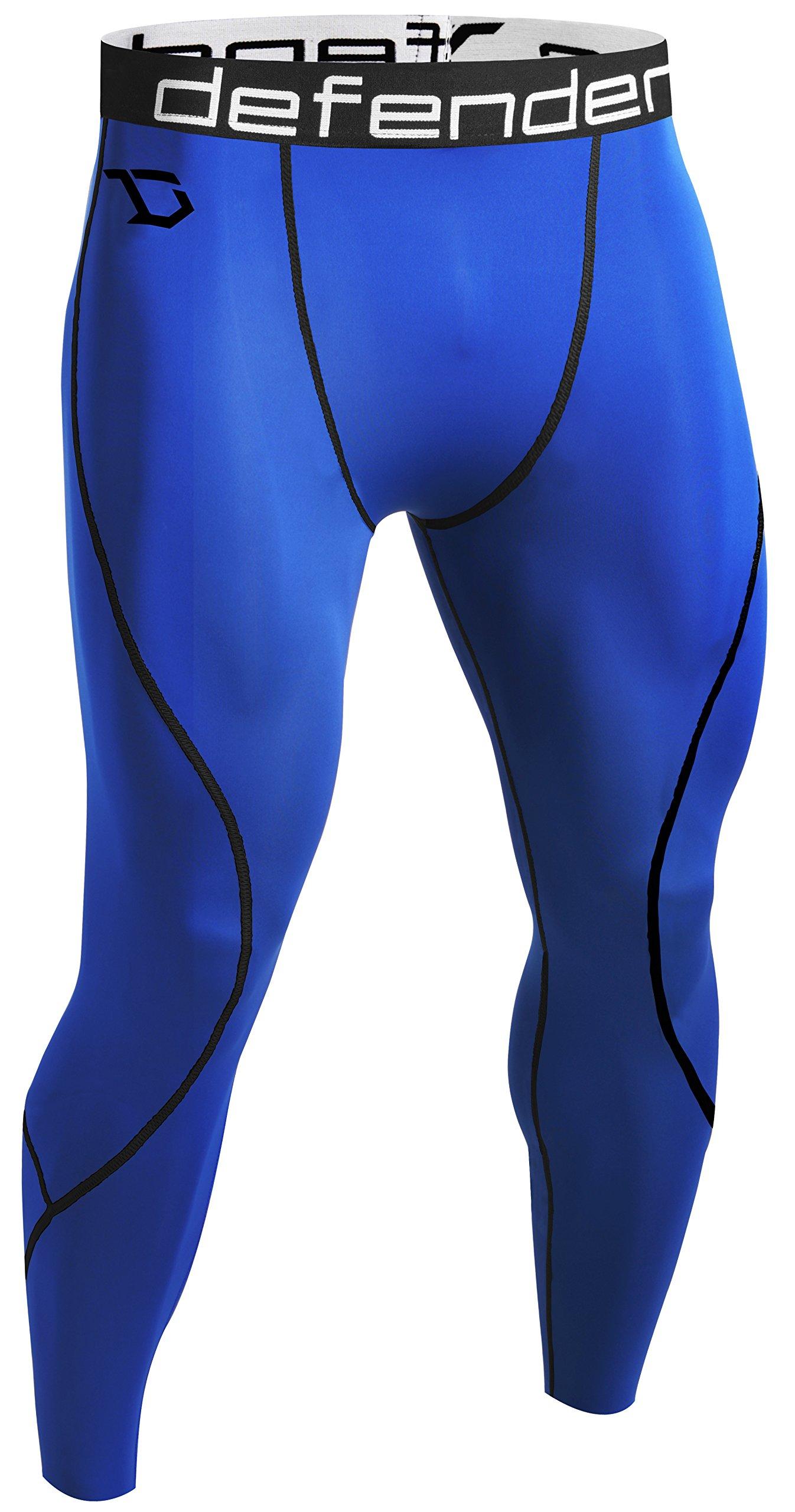 Defender Mens Compression Tights Pants Workout Heat Sports Soccer,781-blueblack,XX-Large by Defender