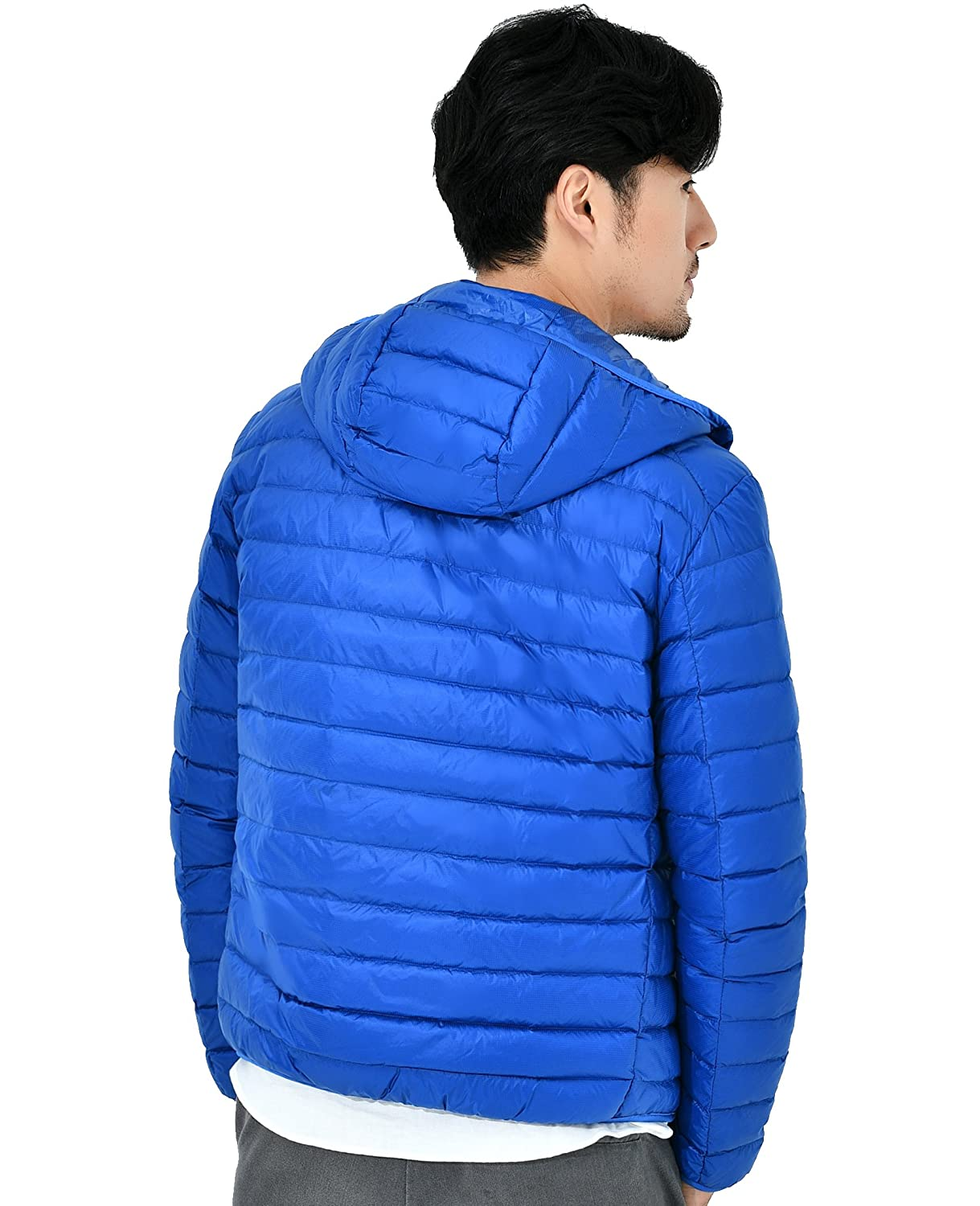 KUPARK Mens Lightweight Packable Down Jacket Hooded Outwear Down Coats