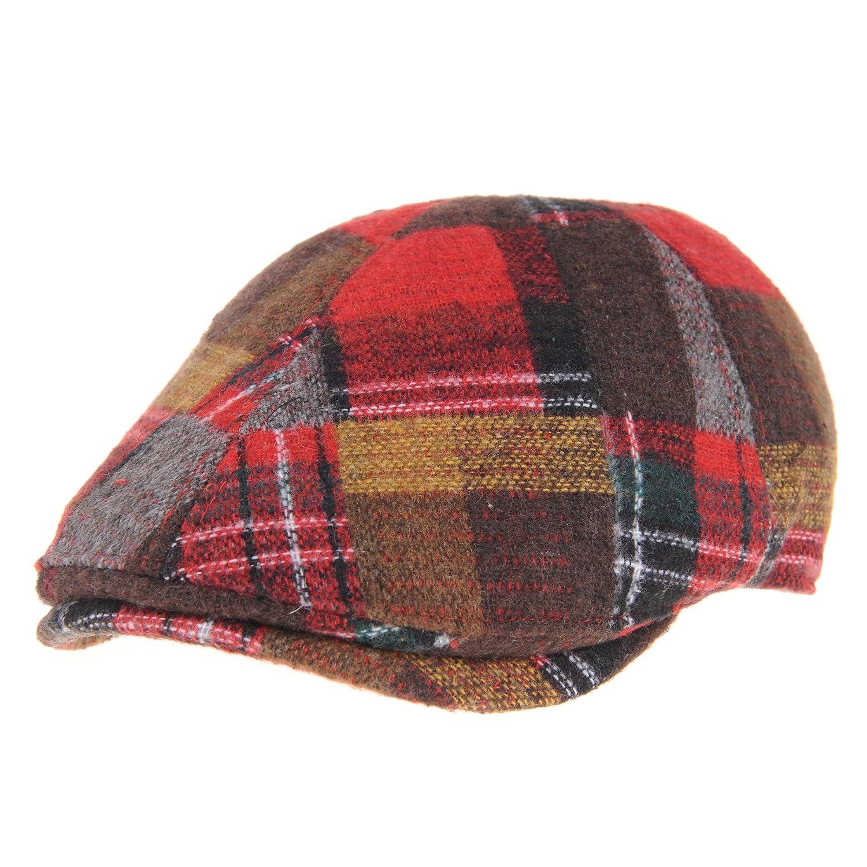 WITHMOONS Mens Winter Flat Cap Tartan Check Wool Knit Ivy Hat SL3435 SL3435Grey