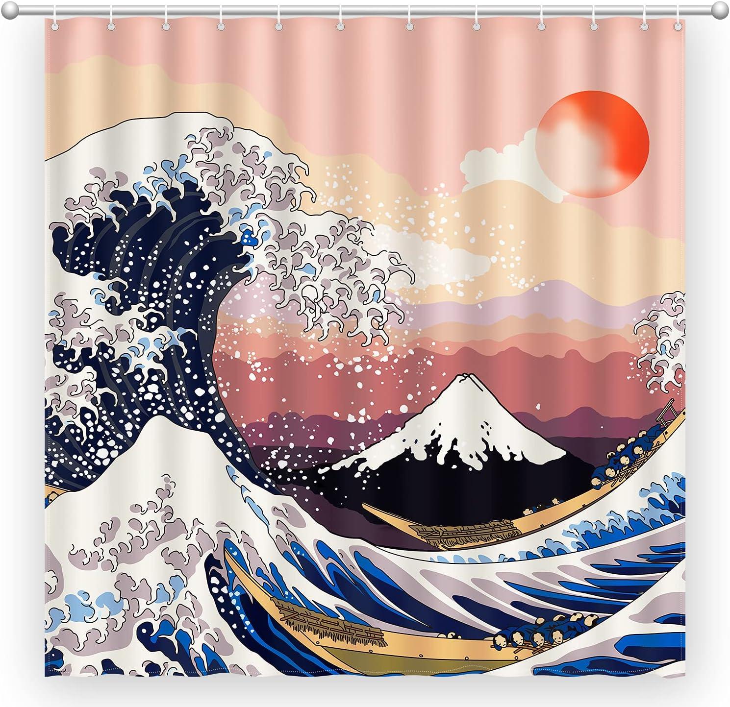 Bathroom Shower Curtain Sets with Hooks, Lokigo Japanese Anime Shower Curtain Blue Great Sea Wave Mountain Sunset Glow Sky Polyester Waterproof Fabric Home Bath Curtain,72X72 Inchs