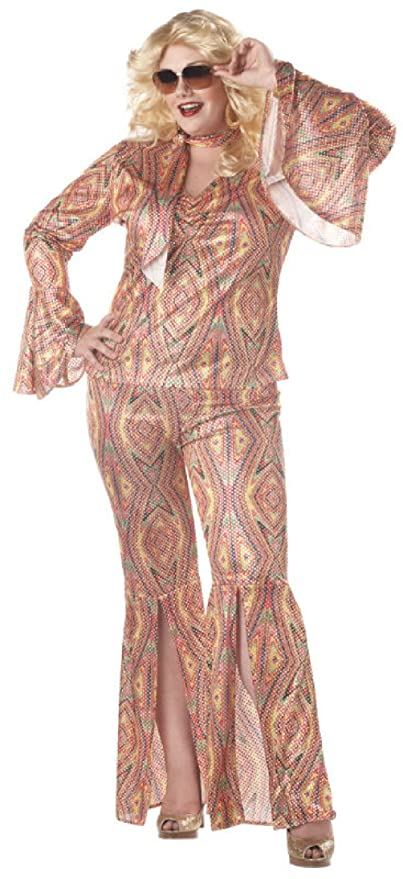 70s Jumpsuit | Disco Jumpsuits, Sequin Rompers Plus Size DiscoLicious Dancing Disco Groovy Adult Halloween Costume $72.41 AT vintagedancer.com