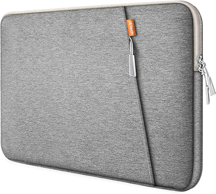 JETech Laptop Sleeve Compatible for 13.3-Inch Notebook Tablet iPad Tab, Waterproof Shock Resistant Bag Case with Accessory Pocket, Light Grey