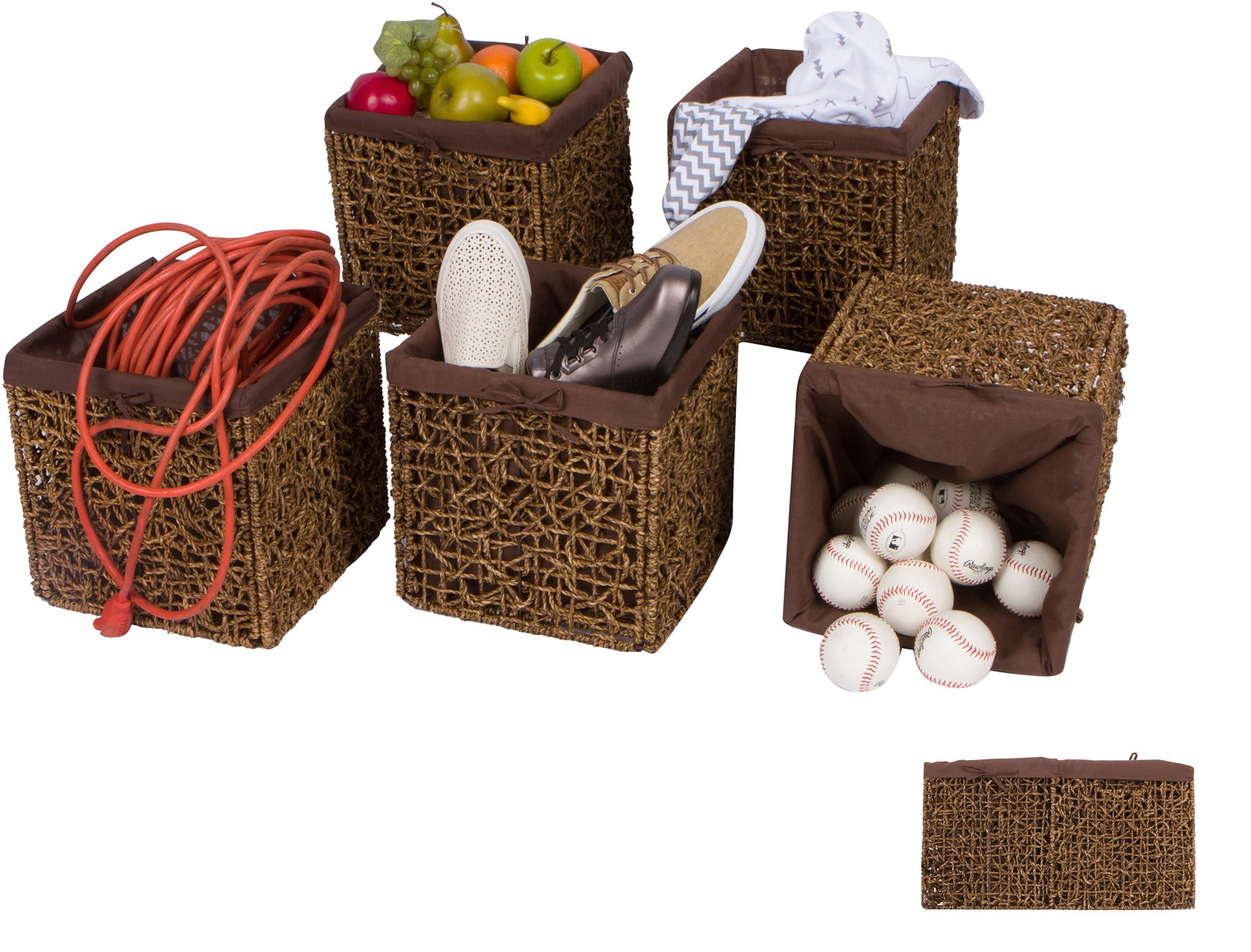 "Trademark Innovations 10.6"" Foldable Seagrass Storage Basket with Liner and Iron Wire Frame by (Set of 5) - Each basket measures 10.6""L x 10.6""W x 10.6""H and comes as a set of 5 Made from beautiful seagrass over an iron wire frame with fabric liner. Color may vary slightly Folds flat for easy storage - living-room-decor, living-room, baskets-storage - 81L4DT5%2BZ L -"