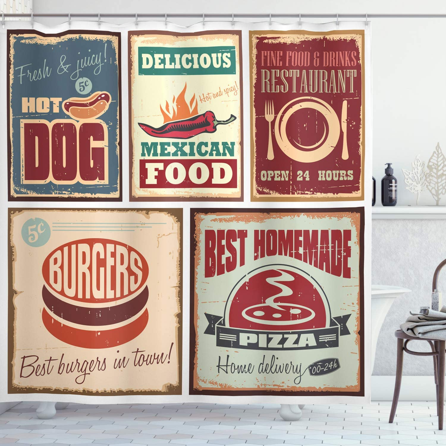 Ambesonne Retro Shower Curtain, Nostalgic Tin Signs Mexican Food Prints Aged Advertising Logo Style Design, Cloth Fabric Bathroom Decor Set with Hooks, 84