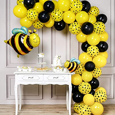 PartyWoo Bee Balloons, 72 pcs Yellow Balloons Yellow Polka Dot Balloons Black Balloons and Bee Foil Balloon, Bee Decorations for Bee Party, Bee Baby Shower, Bee Birthday Party, Mom to Bee Shower: Toys & Games