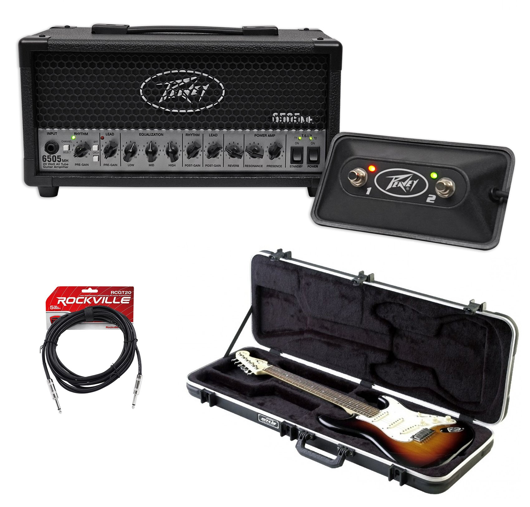 Peavey 6505 MH 20w 2-Channel Micro Tube Amplifier Head, 3-Band EQ + Guitar Case