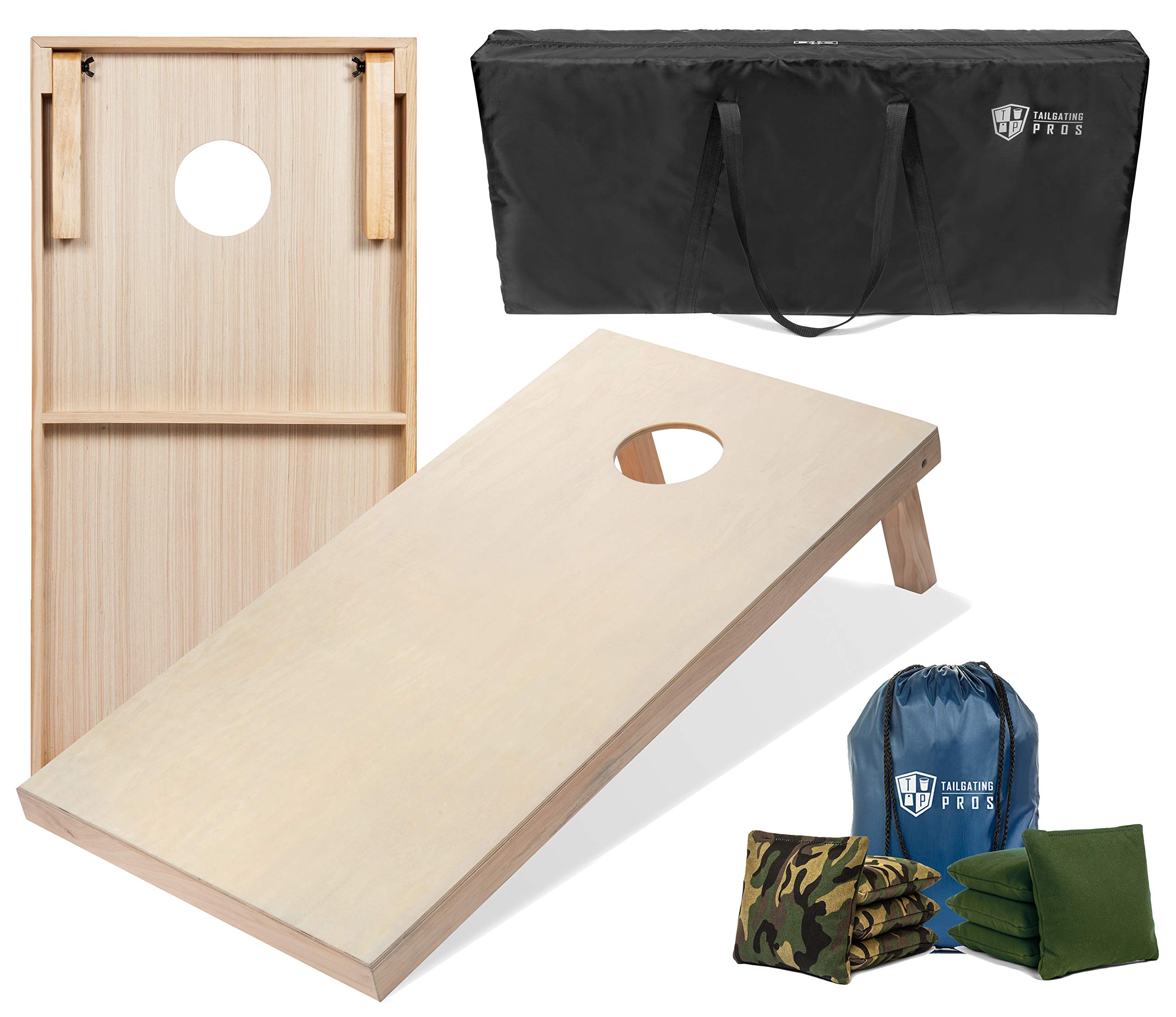 Tailgating Pros 4'x2' & 3'x2' Cornhole Boards w/Carrying Case & Set of 8 Cornhole Bags (You Pick Colors) 150+ Color Combos! (Green Camo/Hunter, 4'x2' Boards) by Tailgating Pros