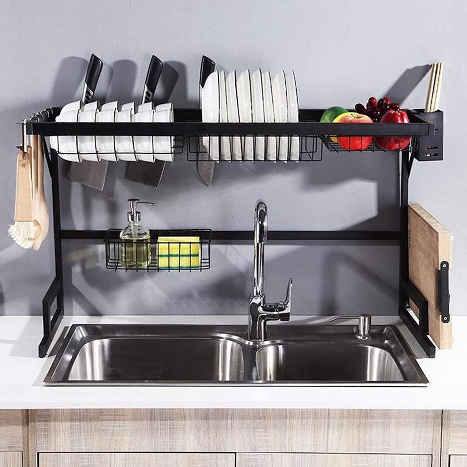 Amazon Com Dish Drying Rack Over Sink Drainer Shelf For Kitchen Drying Rack Organizer Supplies Storage Counter Kitchen Space Saver Must Have Utensils Holder Stainless Steel Sink Size 32 1 2 Inch Black