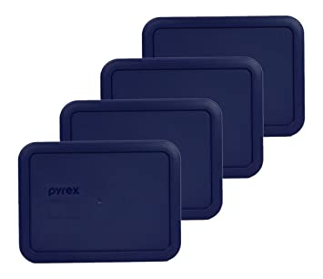 Pyrex  Rectangle 3 Cup Storage Lid Cover Blue 4 Pack 7210-PC New for Glass Dish