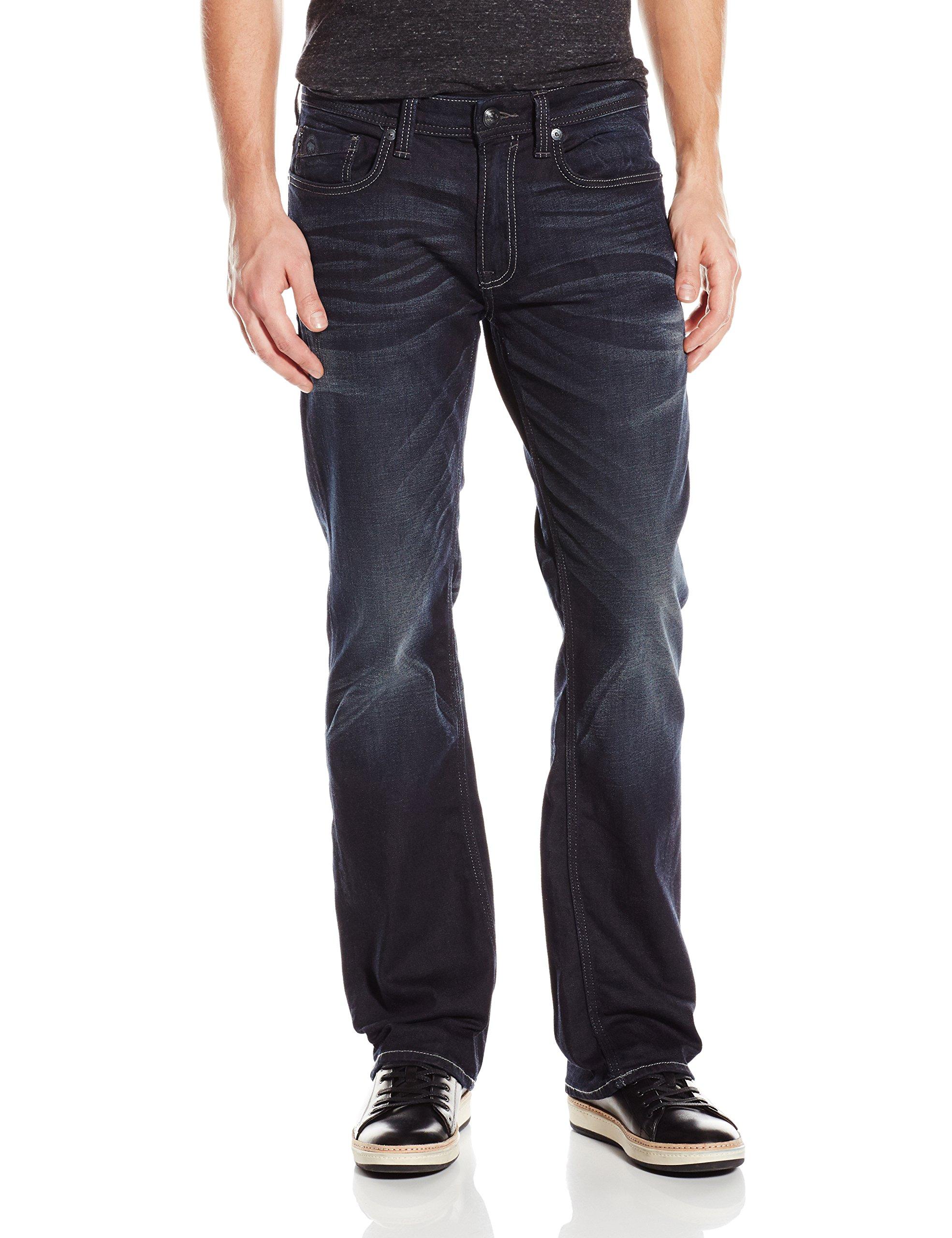 Buffalo David Bitton Men's King Slim Boot Cut Jean In Dark and Rigid, Dark/Rigid, 32 x 30