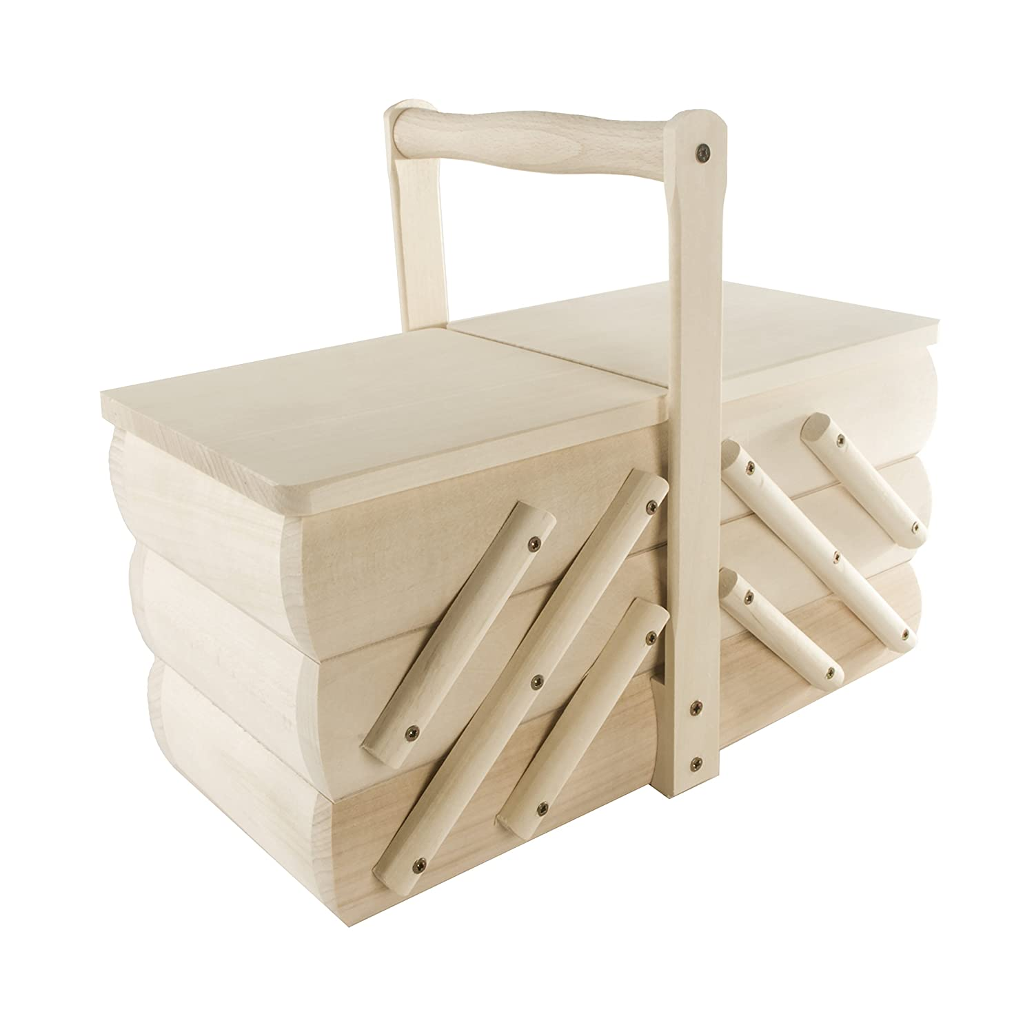 Wood Hobbygift 3-Tier Cantilever Sewing Box with Legs Light Shade Wooden//Beige