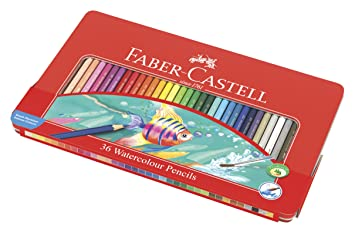 Faber-Castell 115931 - Estuche de metal con 36 lápices de color acuarelables, multicolor