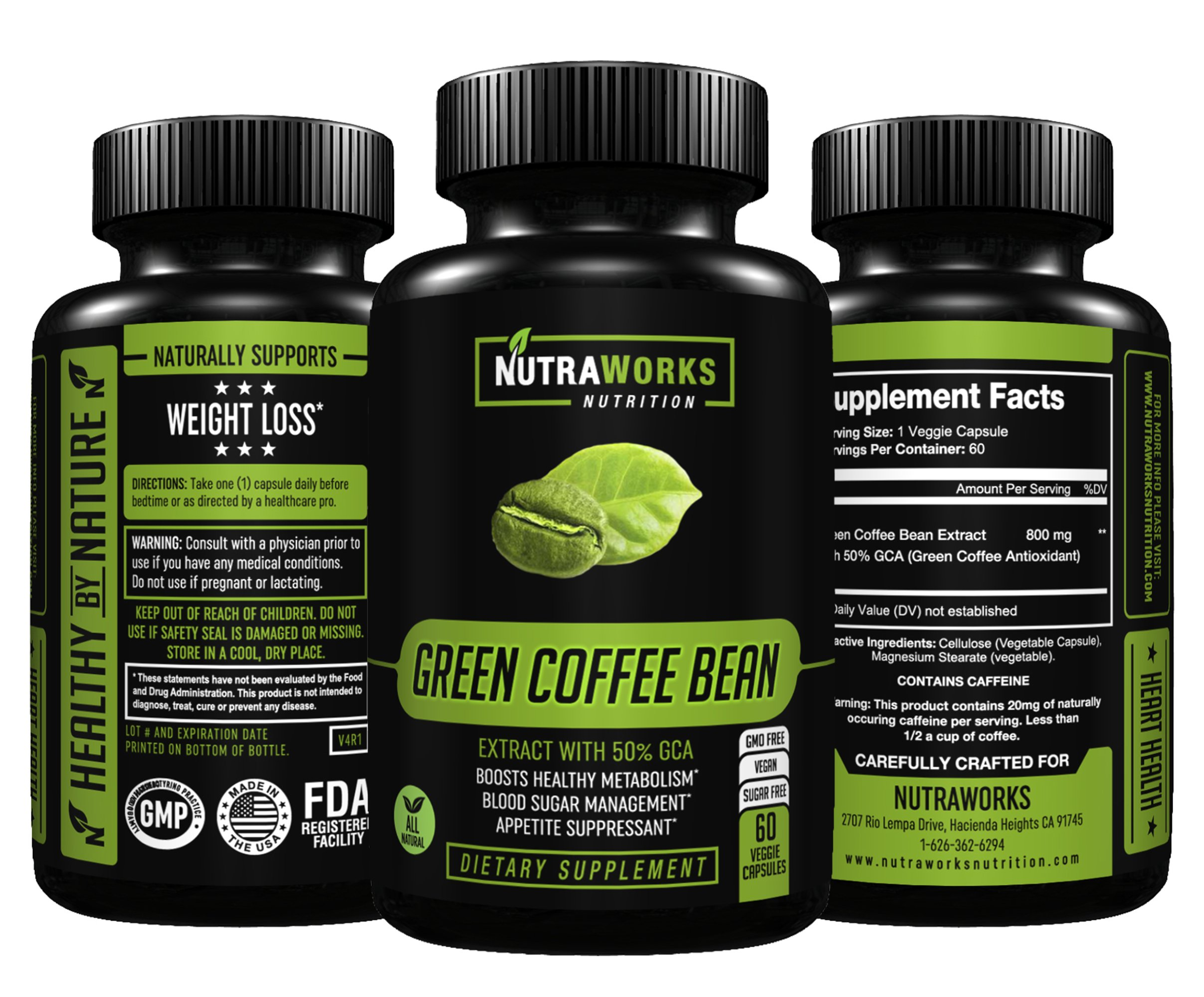 Green Coffee Bean Extract with 50% GCA 800mg - 100% Pure with Antioxidants - 100% All Natural Weight Loss Supplement, Maintains Normal Blood Sugar Levels, Non-GMO, Gluten-Free - 60 Veggie Capsules by NutraWorks Nutrition