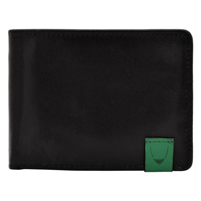 HIDESIGN Dylan Slim Thin Simple Leather Bifold Wallet, Black