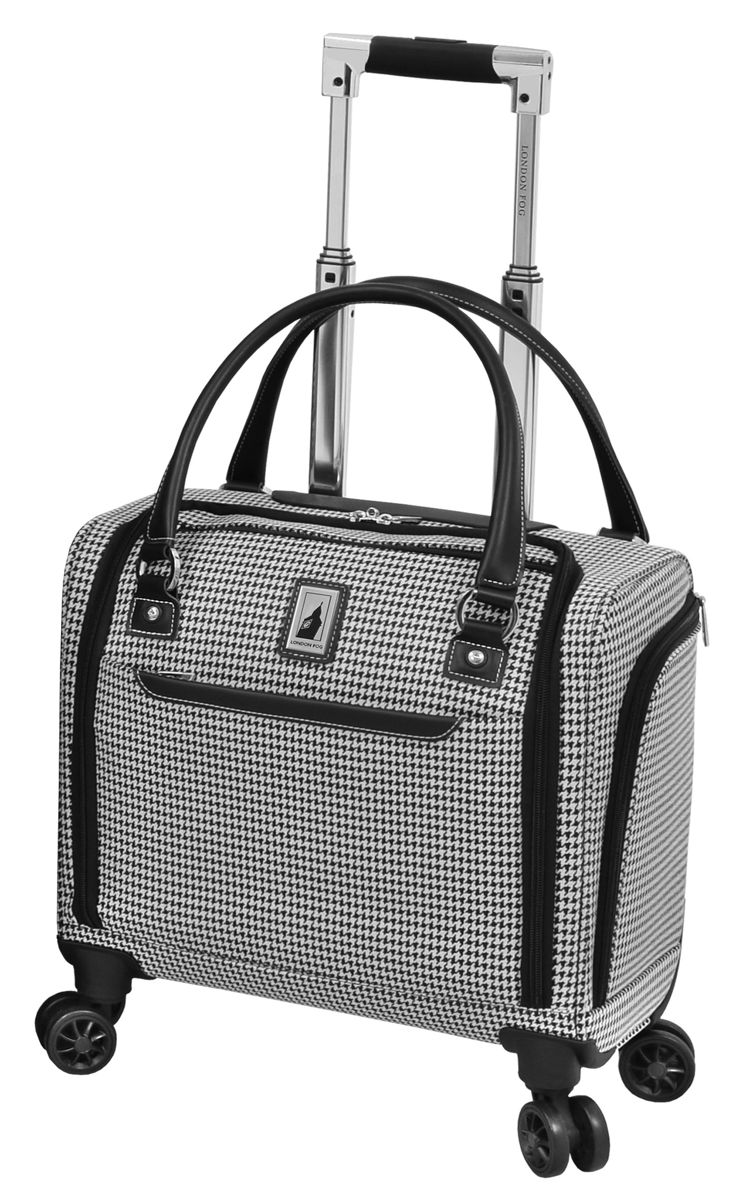 London Fog Cambridge II 15'' 8 Wheel Under Seat Bag, Black White Houndstooth