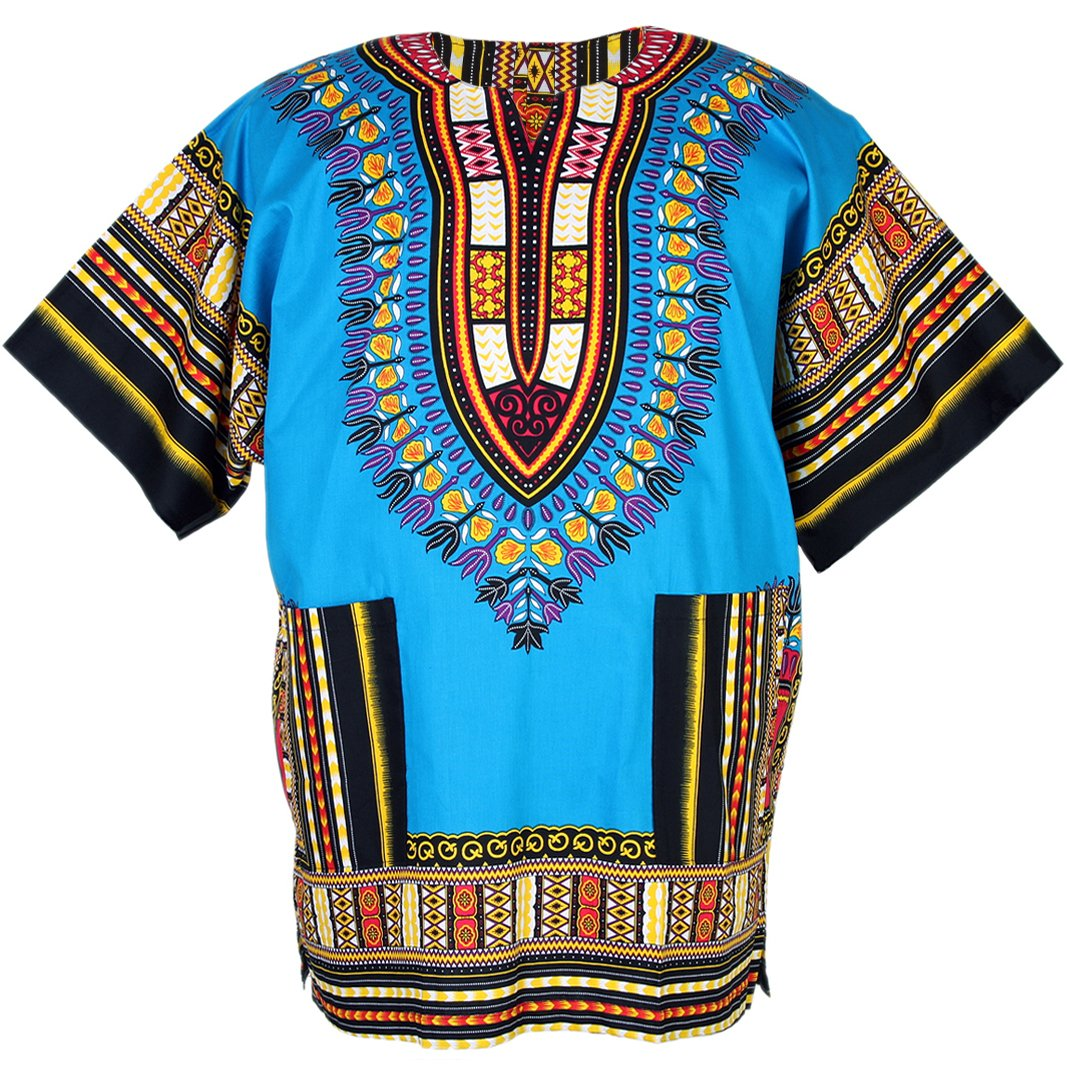 African Dashiki Traditional Shirt Unisex Cotton One Size Fits Most Blue ad02s