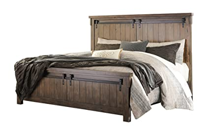ashley lakeleigh e king panel bed in brown - King Panel Bed
