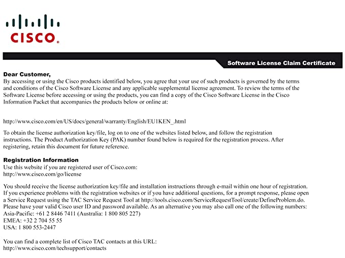Cisco Unified Communications Paper Pak License For Amazon