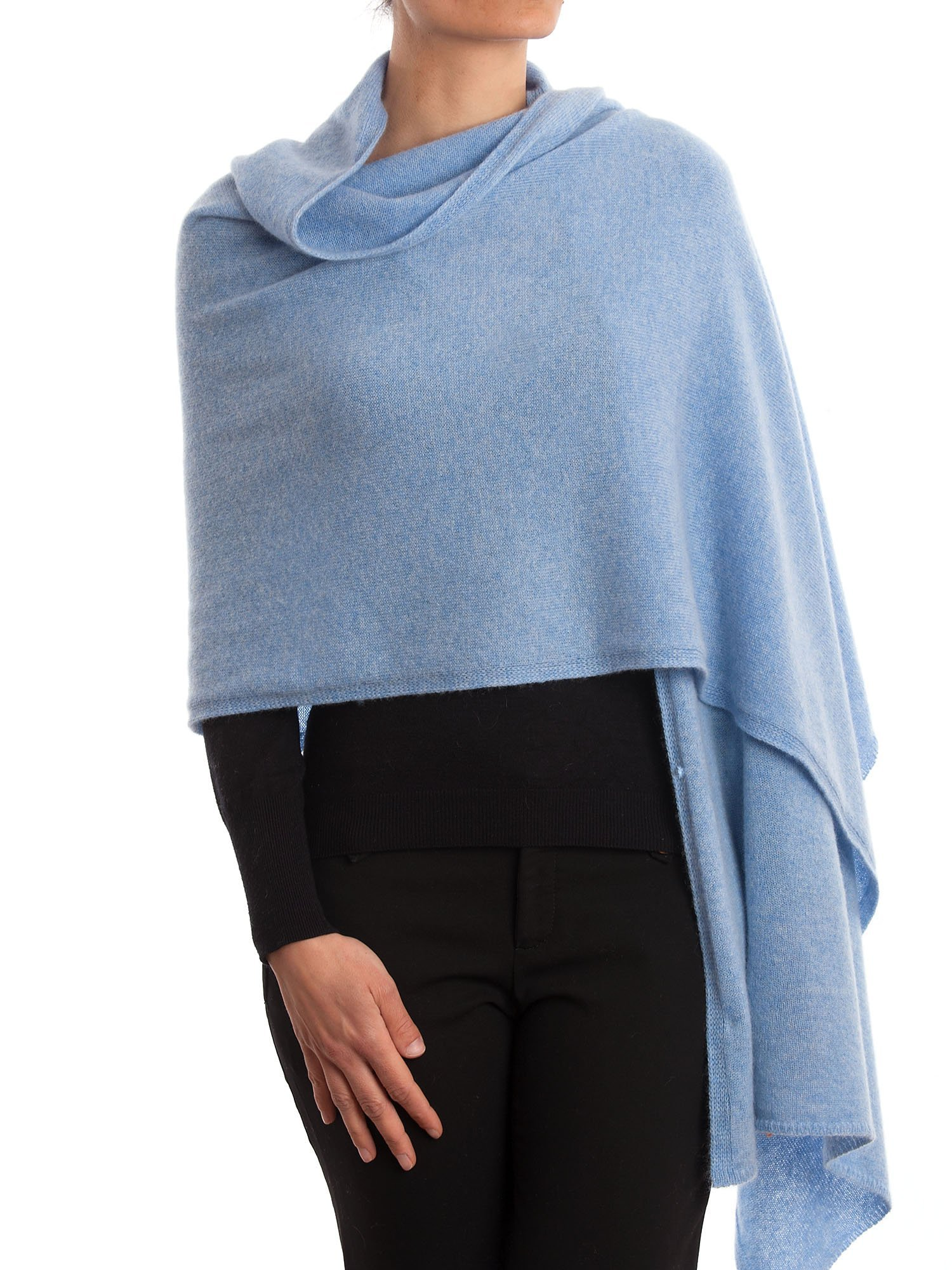 Dalle Piane Cashmere - Stole 100% cashmere - Made in Italy, Color: Sky, One size