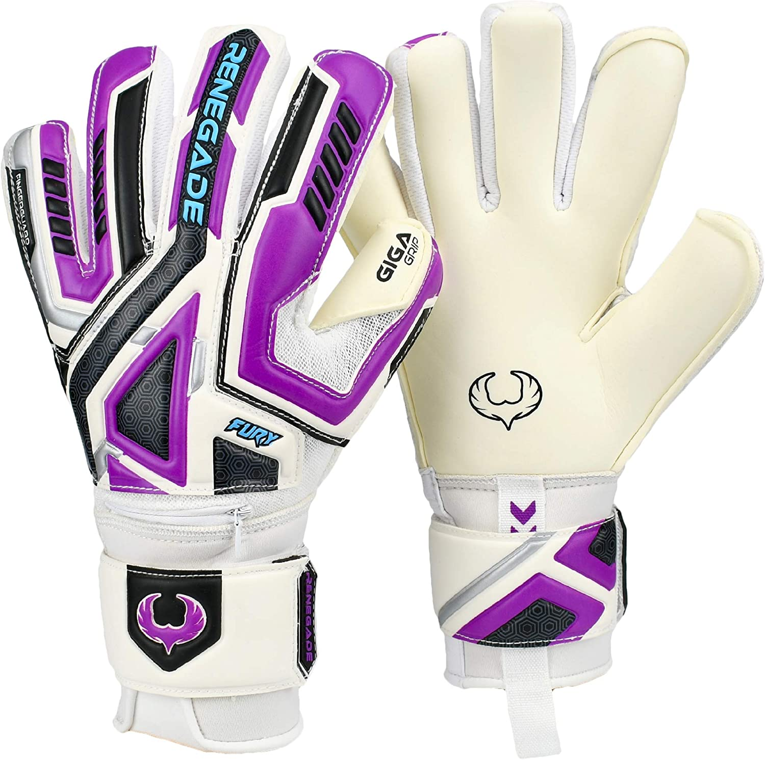 Renegade GK Fury Goalie Gloves with Microbe-Guard (Sizes 7-11, 7 Styles, Level 4) Pro-Tek Fingersaves & 4+3MM Giga Grip | High Performance Pro-Level Goalkeeper Glove | Based in The USA