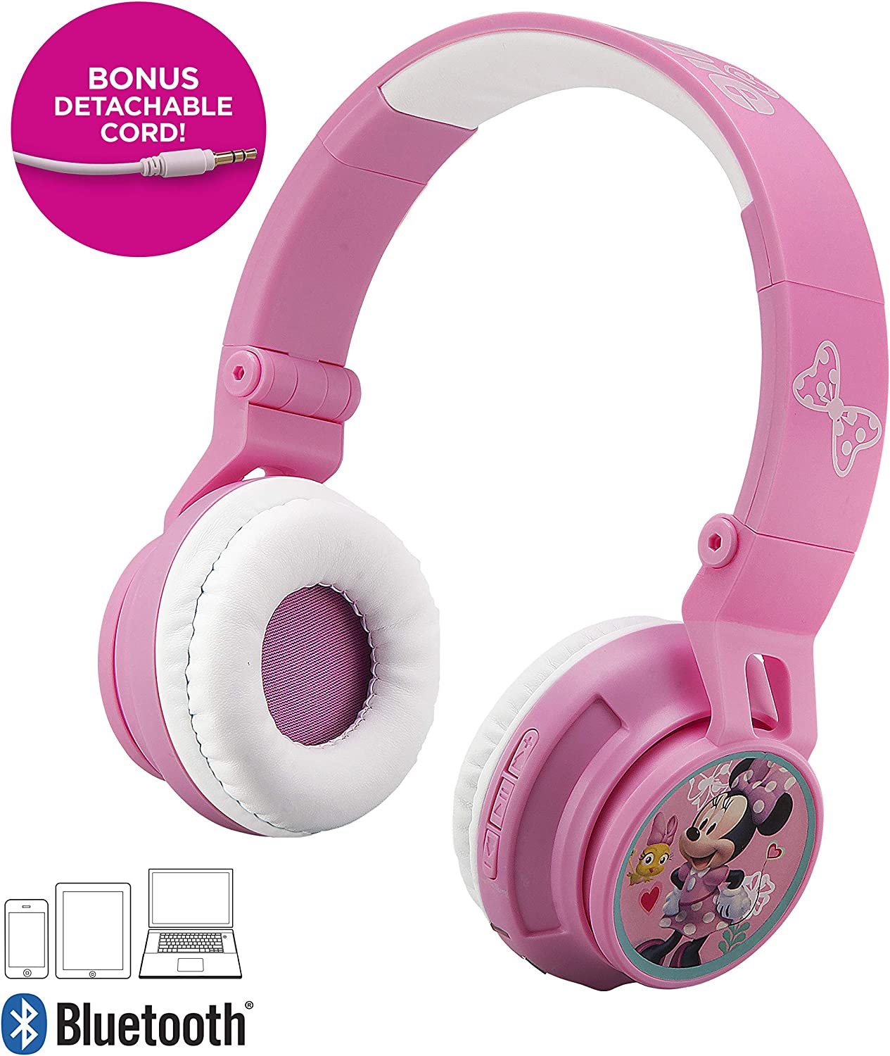 Disney Minnie Mouse Kids Bluetooth Headphones for Kids Wireless Rechargeable Foldable Bluetooth Headphones with Microphone Kid Friendly Sound & Bonus Detachable Cord