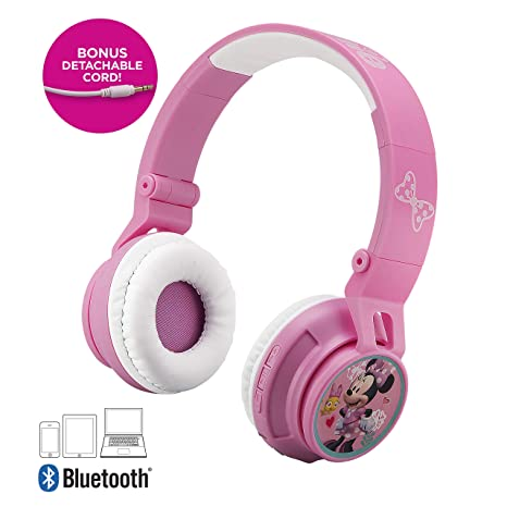 ad049d56e79 Amazon.com  Minnie Mouse Bluetooth Headphones for Kids Wireless  Rechargeable Kid Friendly Sound (Minnie Mouse)  Home Audio   Theater