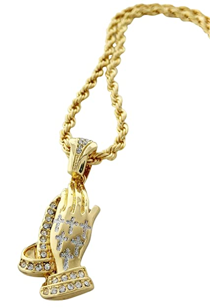 Praying hands pendant necklace with 24 rope chain cross gold praying hands pendant necklace with 24quot rope chain cross aloadofball Choice Image