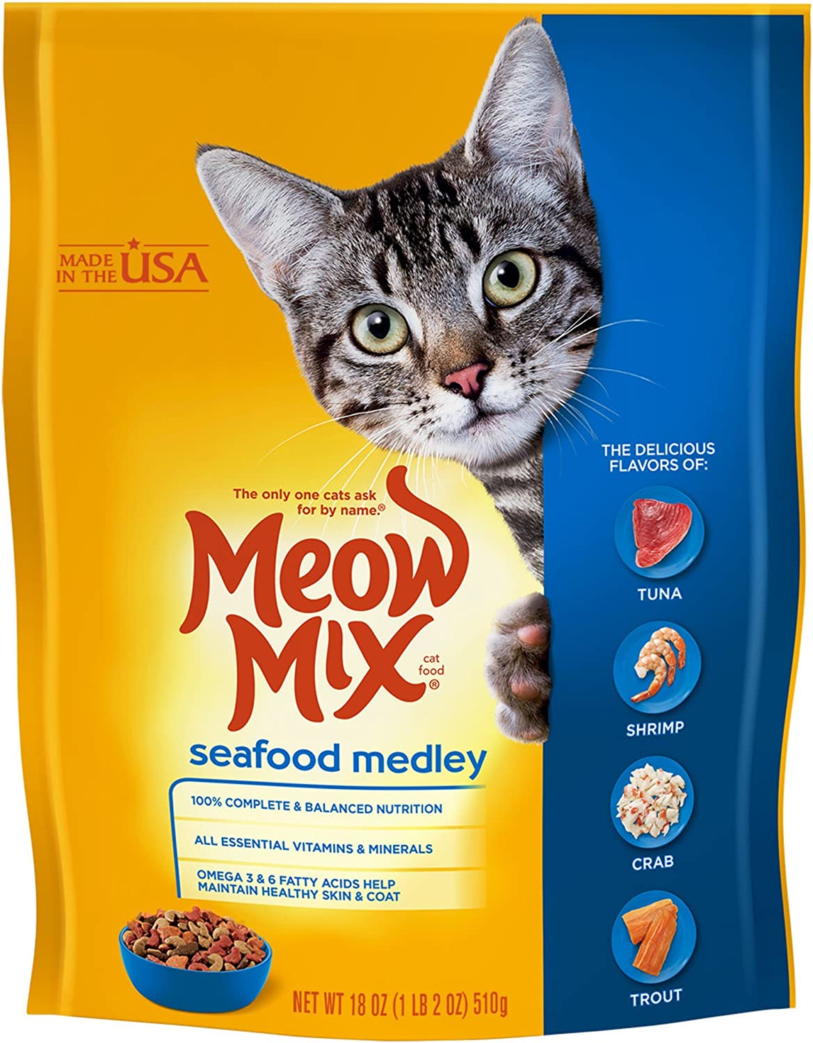 Meow Mix Seafood Medley Dry Cat Food, 18 Ounces (Pack of 6)