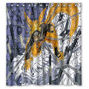 36 x 72 inch Anime Style Shower Curtain Eco-Friendly PVC-Free Bathroom Curtain Waterproof and Mildew Resistant