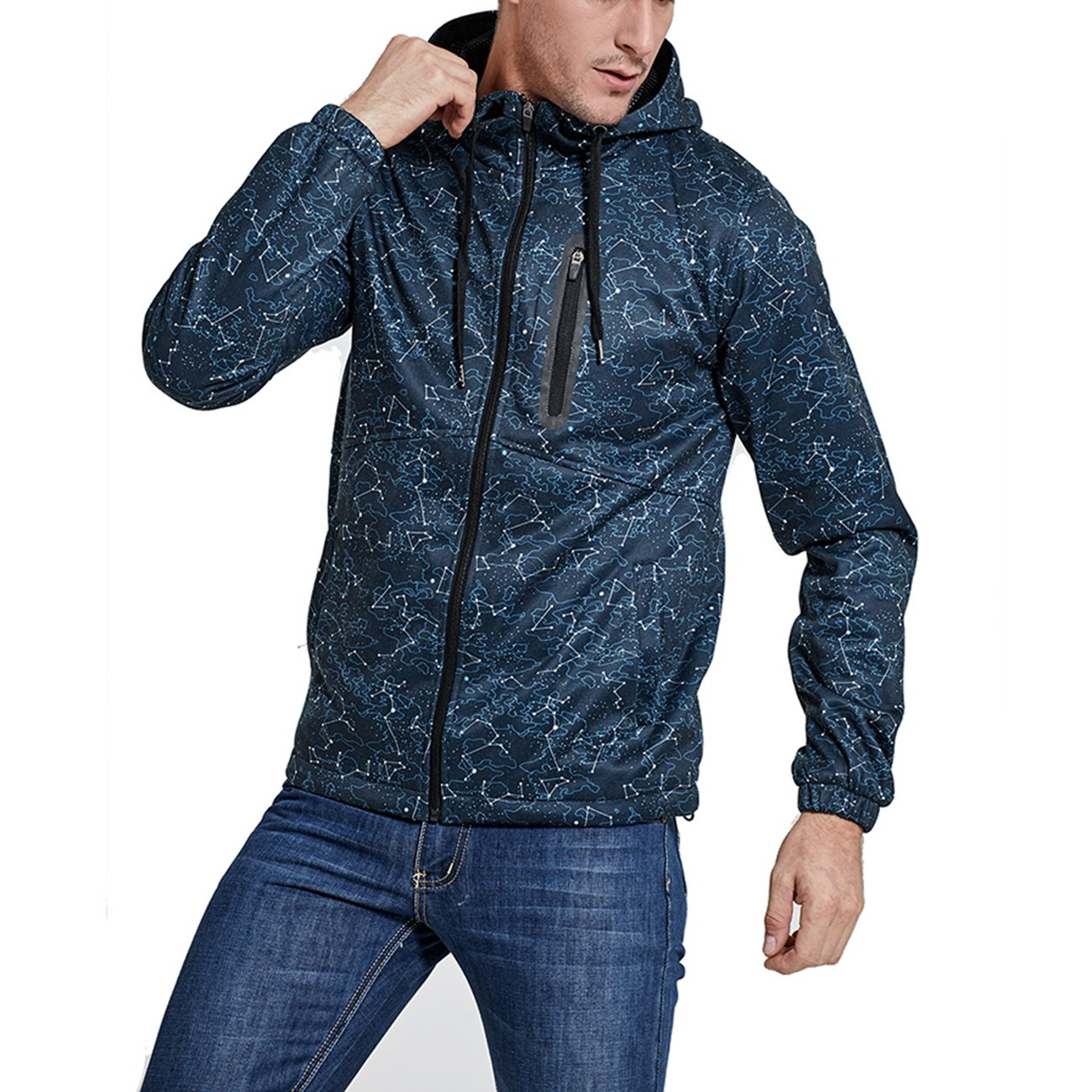 SEVENWELL Men Active Performance Zipper Hoodie Graphic Printed Multi-Pockets Travel Hoodie Jacket with Hood Gym Workout Technical Zip up Sweatshirt Hoodie Blue S