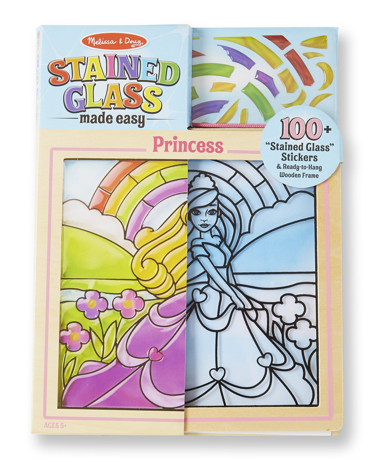 Melissa Doug Stained Glass Made Easy Activity Kit Princess 100 Stickers Wooden Frame