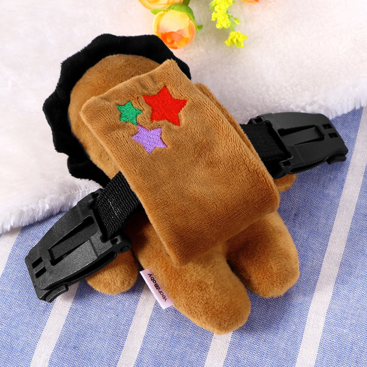 YeahiBaby Baby Safety Seat Strap Belt Lock Harness Belt Locking Buckle with Cute Plush Lion Cover for Car Stroller Pram Pushchair