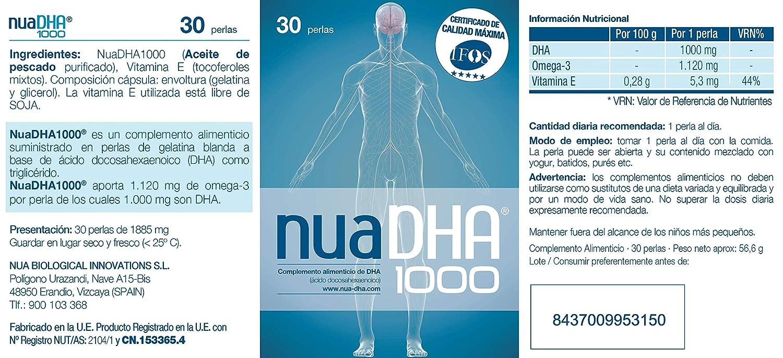 Nua Dha 30 cápsulas de 1000 mg de Nua: Amazon.es: Salud y cuidado personal