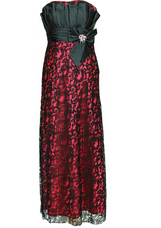 JuJu & Christine Langes Langes Star Satin Spitzen Abendkleid Ballkleid Michelle mit Träger vers. Farben Gr. 34 – 50