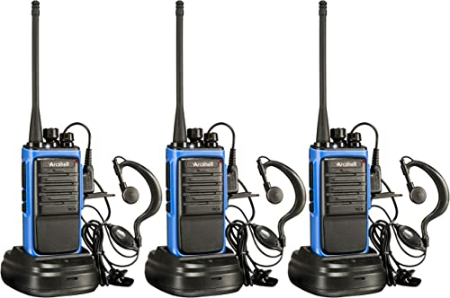 Arcshell Rechargeable Long Range Two-Way Radios with Earpiece Headsets 3 Pack UHF 400-470Mhz Walkie Talkies Li-ion Battery and Charger Included