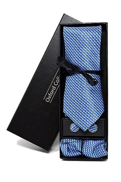 Corbata de hombre, Pañuelo de Bolsillo y Gemelos Azul a Rayas ...