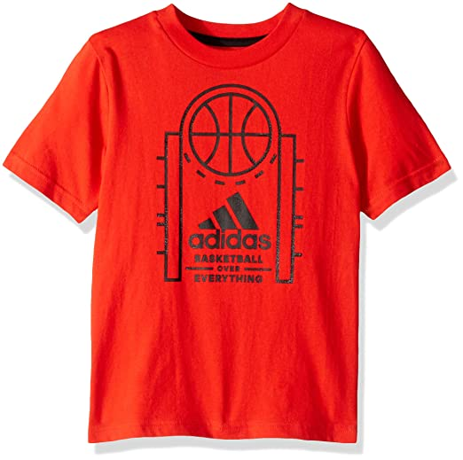 adidas Boys' Toddler Short Sleeve Graphic Tee Shirt, Game time red 3T