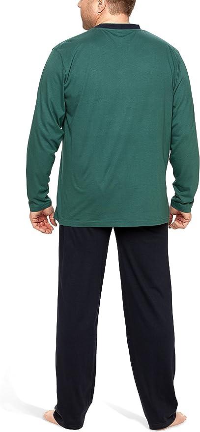 Moonline Plus - Pijama de Hombre Largo y de algodón en Tallas Grandes (Dos Piezas)