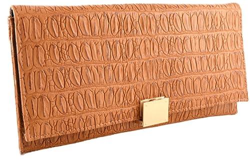 Mis Bolsos Online cartera de mano de fiesta mujer camel: Amazon.es: Zapatos y complementos