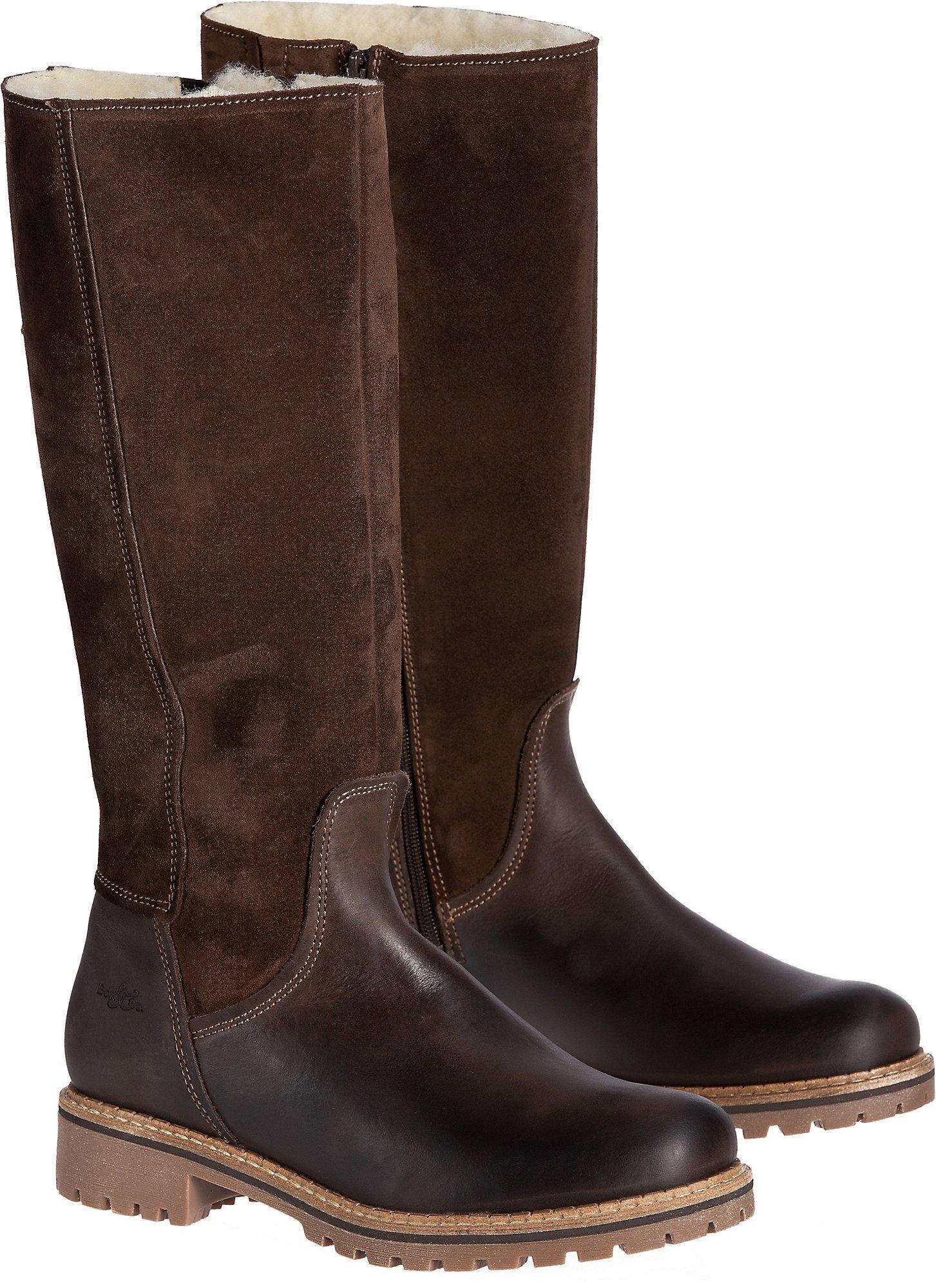 Women's Bos & Co Hudson Shearling-Lined Waterproof Leather Boots, DARK BROWN/COFFEE, Size EU40