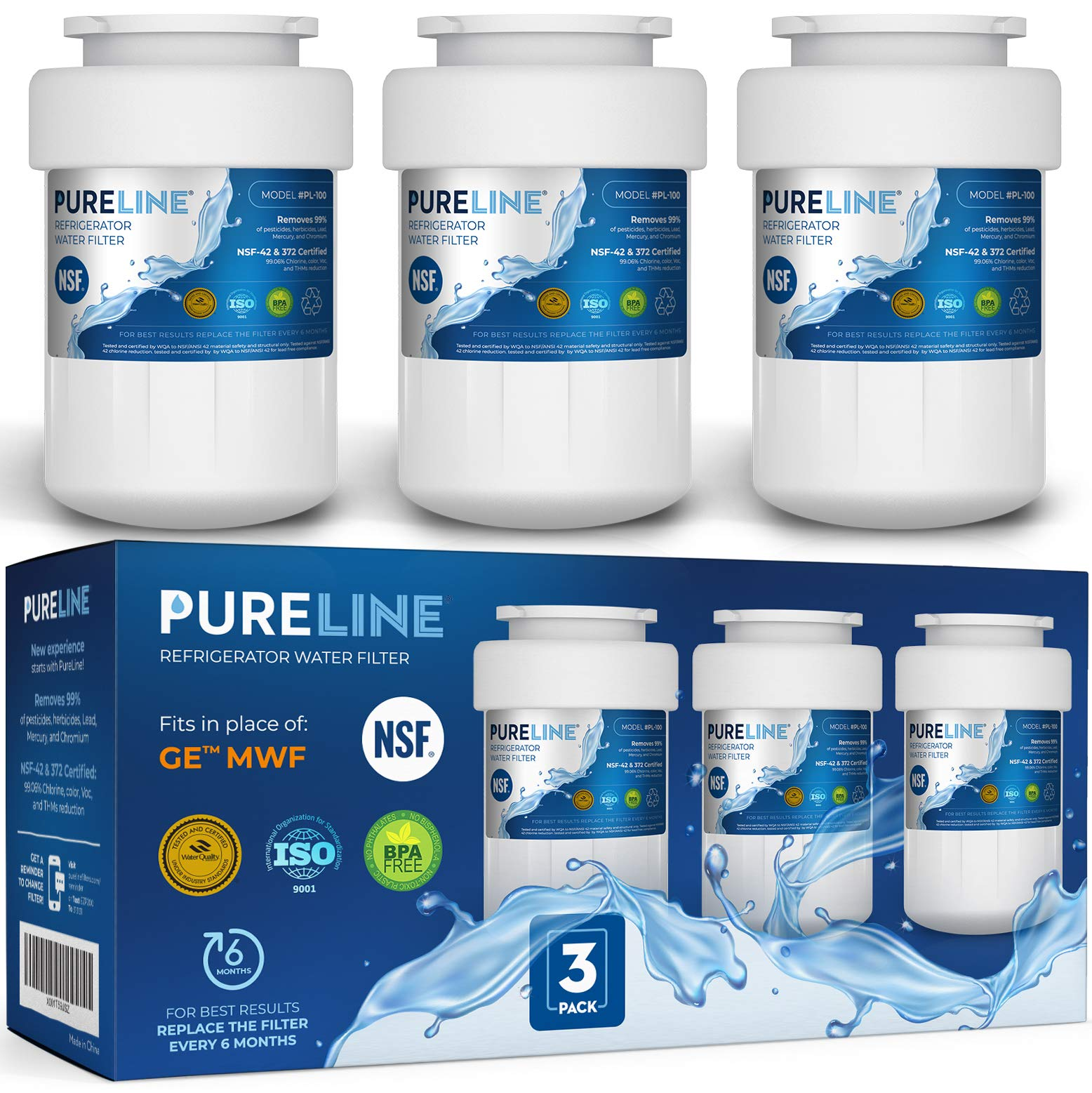 GE MWF Water Filter Replacement. Compatible GE Models: MWF, MWFA, MWFP, MWFAP, MWFINT, GWF, GWFA, HWF, HWFA, FMG-1, SmartWater, GSE25GSHECSS, 197D6321P006 -by PURELINE (3 Pack) by PURELINE