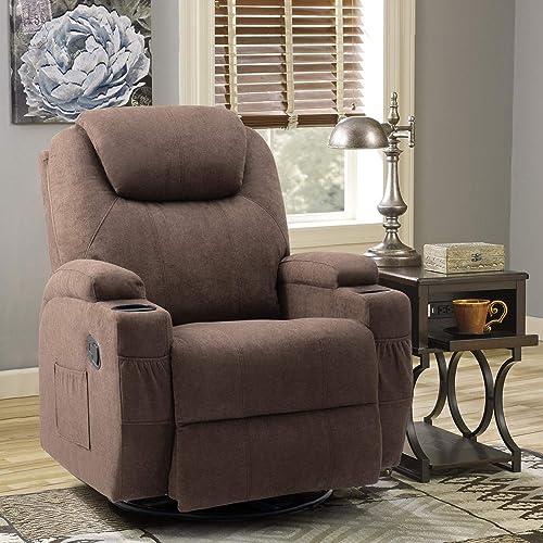 Tuoze Fabric Massage Recliner Chair Ergonomic 360 Degree Swivel Single Sofa