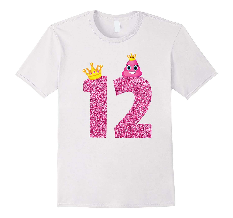 12th Birthday Shirt Birthday Girl 12 Pink Emoji T-Shirt-PL