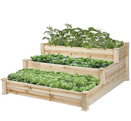 Amazon Com Hometech Fir Wood 3 Tier Elevated Raised Garden Bed