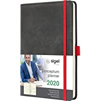 SIGEL C2057 Wochenkalender 2020, ca. A5, Hardcover, Vintage, Leder-Optik dunkelgrau, Conceptum - weitere Modelle