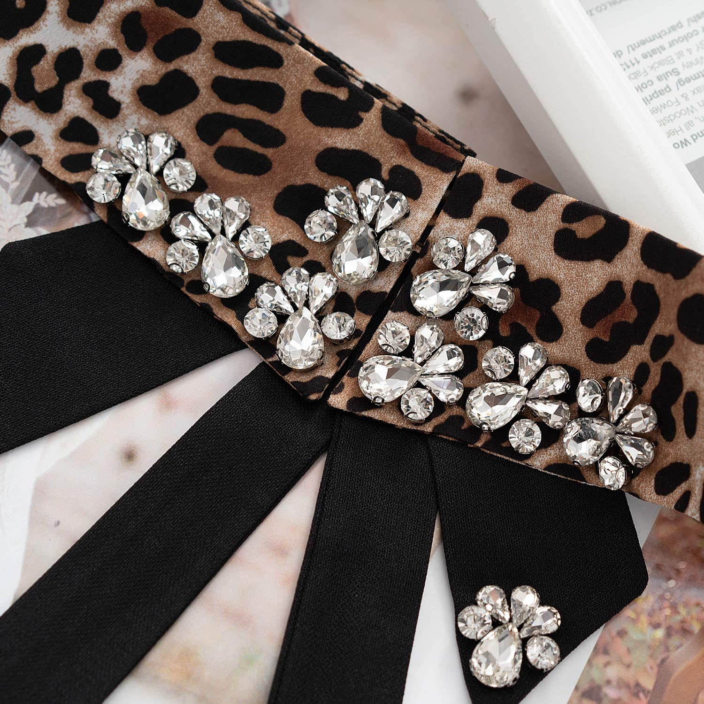 CHARMGIRL Womens Fake Collar Detachable Lapel Rhinestone Crystal Pearl Blouse Fake Collar Choker Peter Pan Necklace,Leopard