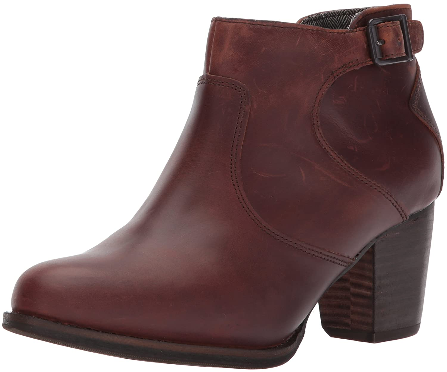 Caterpillar Women's Trestle Waterproof Leather Bootie with Side Zip Abd Stacked Heel Ankle Boot B01N4DPSGP 7.5 B(M) US|Tea / Tawny