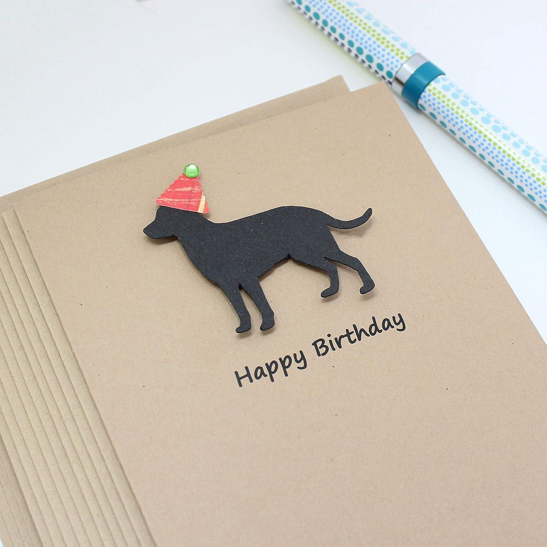 Blank Inside Black Labrador Retriever Birthday Card Handmade Black Dog Birthday Greeting Card on Kraft Card stock with Envelope