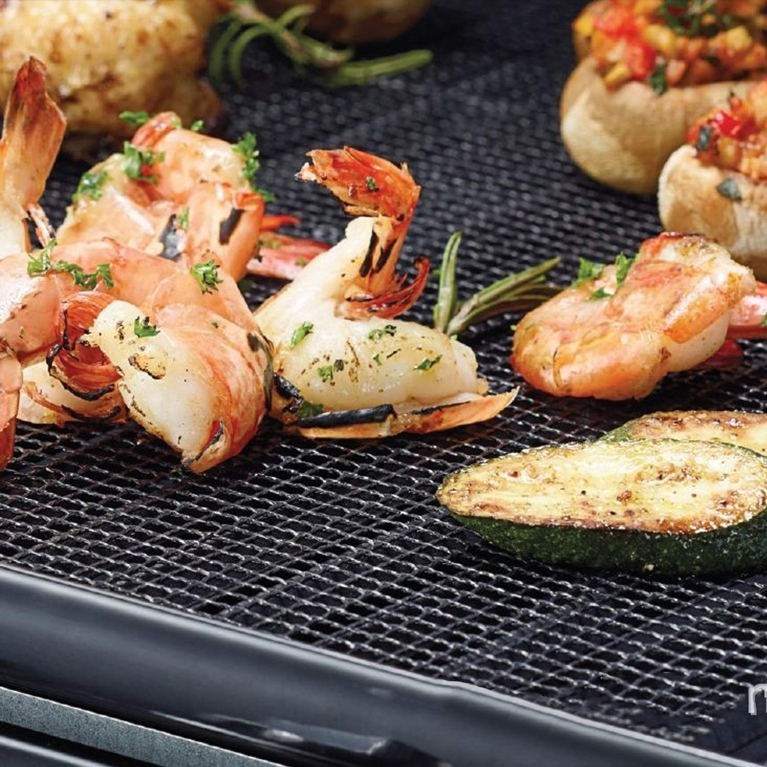 BBQ Grill Mat Set of 3 for Grilling and Baking Veggies- Free Silicone Brush Non Stick BBQ and Baking Mat Reusable PFOA for Grilling Meat