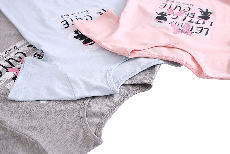 ABClothing 3 a 12 Anni in Cotone da Ragazza con Diverse grafiche per Camicia da Notte Rosa